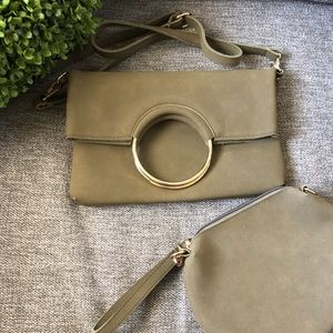 Handbags - Suede Flap Over O-Ring Crossbody Bag